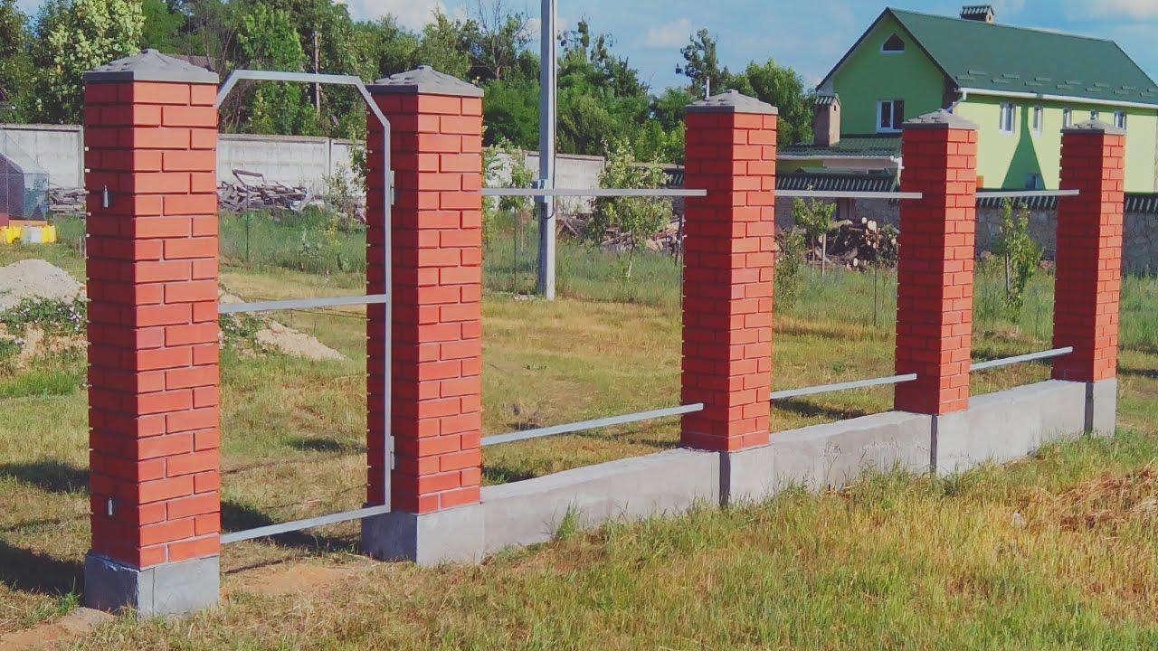 Ограда из кирпича своими руками 35