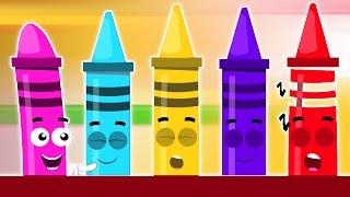 Crayons Mười trong giường ngủ | Tranh biếm họa về trẻ em | video giáo dục | Crayons Ten in the Bed