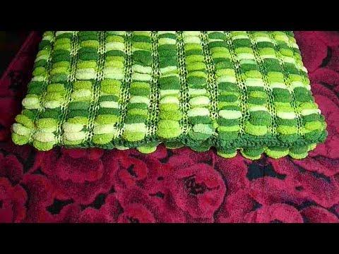 Вязание из помпонной пряжи спицами пледы