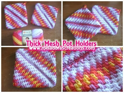 Crocheted Pot Holders Thick Crochet Mesh Brick Stitch Stitch