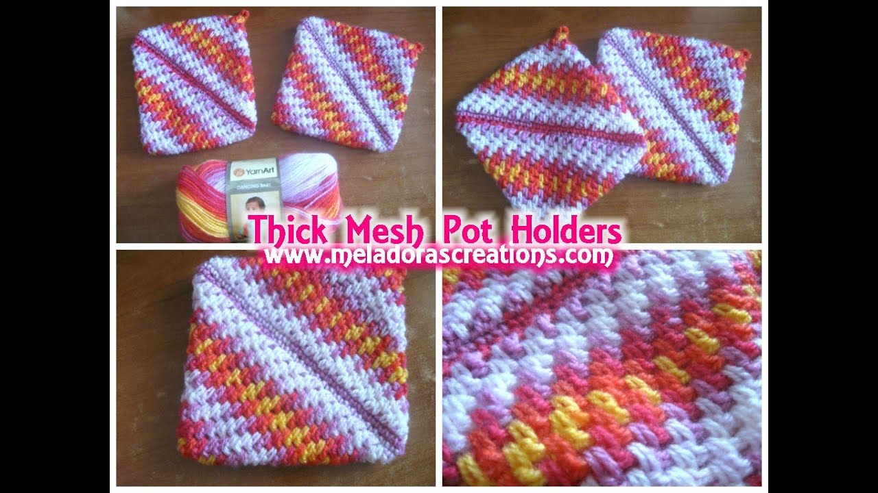 Free Crochet Patterns Hotpads Potholders : Crocheted Pot holders Thick Crochet Mesh / Brick Stitch ...