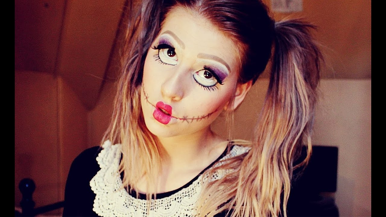 Halloween doll make up tutorial hannah leigh youtube - Maquillage poupee halloween ...