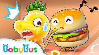 Naughty Hamburger and Dinosaur Juice | Vending Machine | Kids Pretend Play | Cake Song | BabyBus