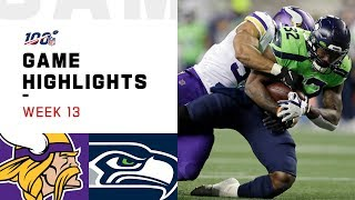 Vikings vs. Seahawks Week 13 Highlights | NFL 2019