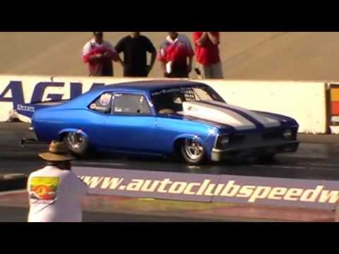 1969 Nova runs 6.78@212.78mph on 10.5 wide tyres/ Street Car event 2009.