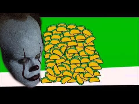 """Pennywise dances to """"ITs raining tacos""""."""