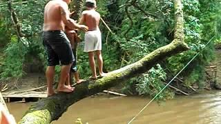 Crianças mergulhando no Rio Turvo