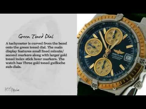 Breitling Chronomat D13050.1 18k Gold & Steel Green Dial Chronograph Watch