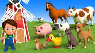 Learn Farm Animals Names & Sounds For Kids - Learn Colors With Animals Toys Finger Family Song