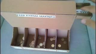 Kartondan Bozuk Para ayırma kutusu nasıl yapılır. DIY Coin Sorting Machine from Cardboard