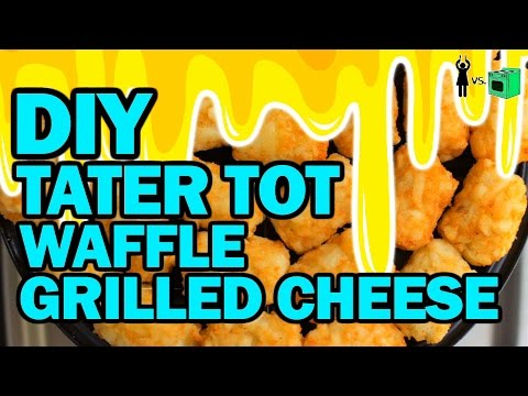 DIY Tater Tot Waffle Grilled Cheese!!! - Corinne Vs Cooking #18 thumbnail