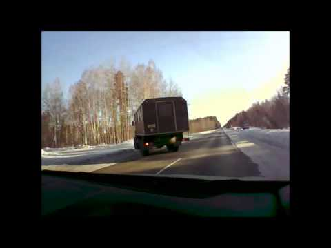 Армейский Крокодил подрезал Рено — ДТП Снежинск 18/02/2013