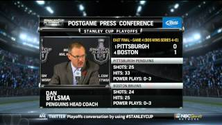 NBC Post game report part 2. Dan Bylsma. 6/7/13 Pittsburgh Penguins vs Boston Bruins NHL Hockey