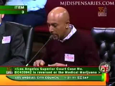 Montel Williams testifies before the Los Angeles City Council regarding medical marijuana