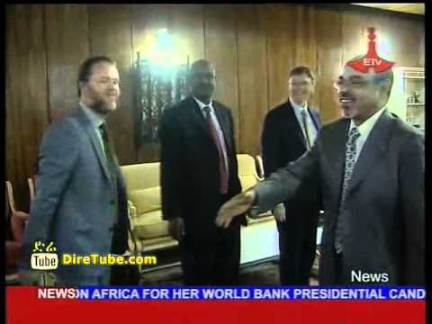 PM Meles Zenawi confers with Bill Gates