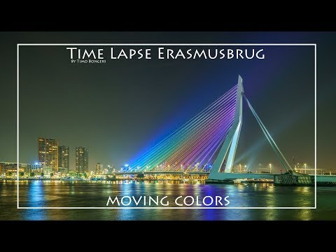 Time Lapse Erasmusbrug moving colors  HDR 4K
