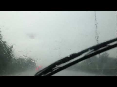 Driving Through Heavy Rain & Hail Storm England July 2012