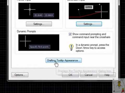 Autocad - 32. Opciones de Dynamic input o entrada dinamica