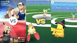 Pokémon Go Gym Battle Plusle, Pichu, Pikachu vs Minun & Slaking