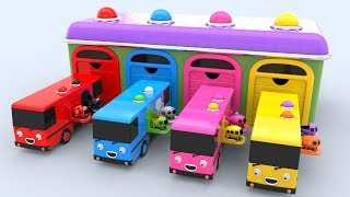 Learn colors with surprise pop up bus and toy street vehicles : preschool learning videos for kids