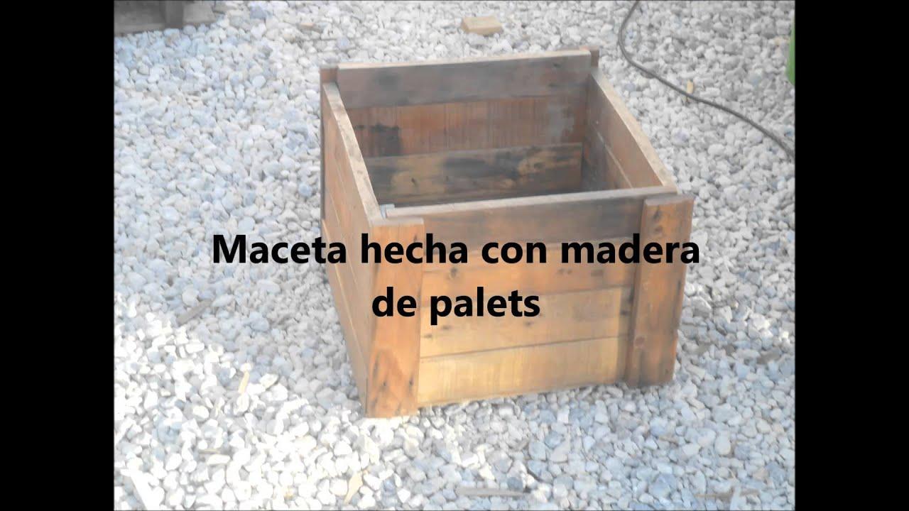 Maceta hecha con madera de palets youtube for Jardineras con palets de madera