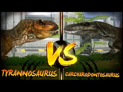 Dinosaur Battles - Tyrannosaurus Vs Carcharodontosaurus   Jurassic Park : Operation Genesis