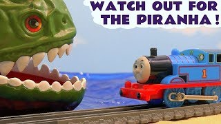 Thomas The Tank Engine Piranha and Shark Kinder Surprise Eggs Toy Trains for kids story