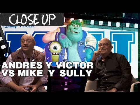 Andrés Bustamante y Victor Trujillo en el Close Up a Monsters University