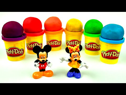 Play-Doh Surprise Eggs! Mickey & Minnie Mouse Sesame Street Hello Kitty Cars 2 Spongebob FluffyJet