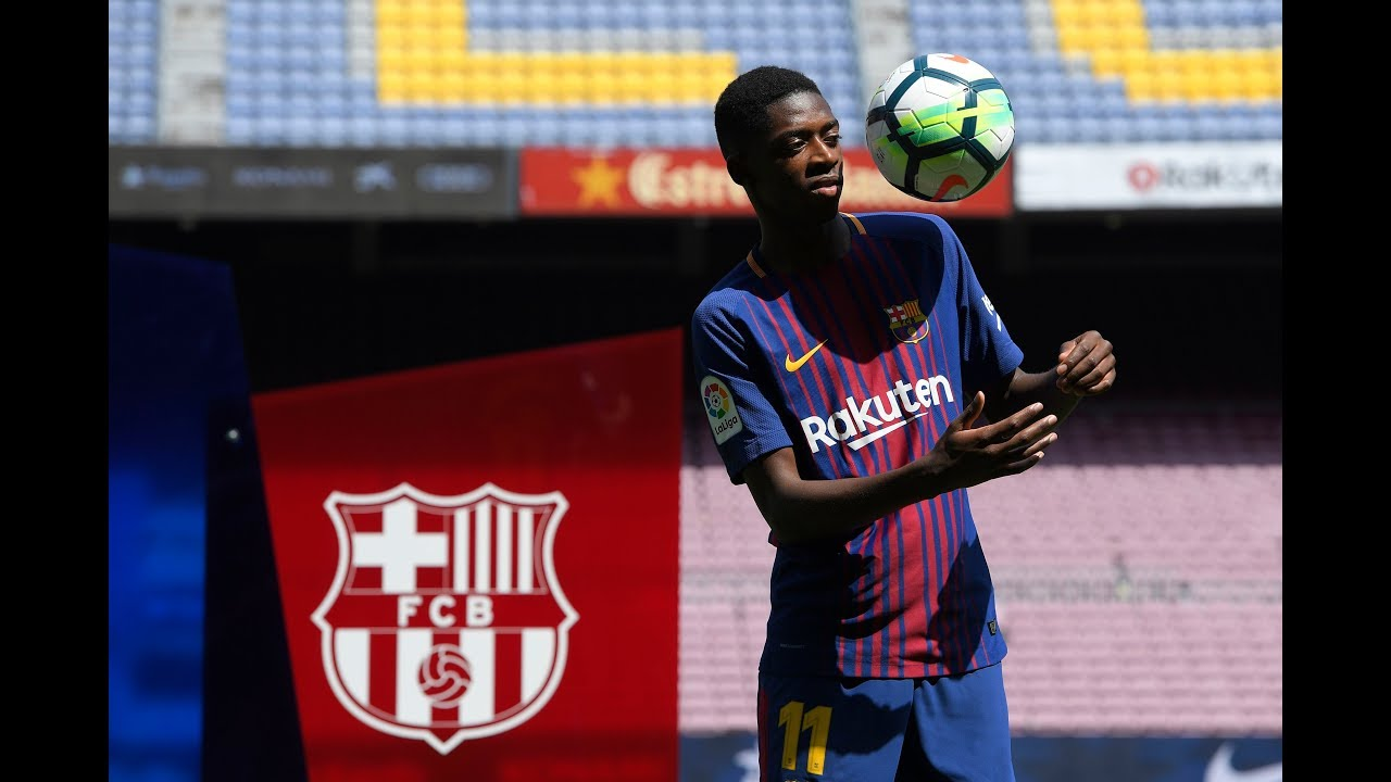 F.C. Barcelona unveil new signing Ousmane Dembele