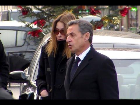 Carla Bruni & Nicolas Sarkozy - obséques Jacques Chancel Janvier 2015