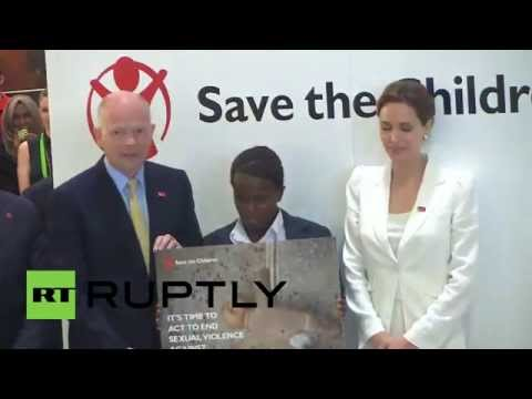 UK: Angelina Jolie makes appearance at anti-rape conference