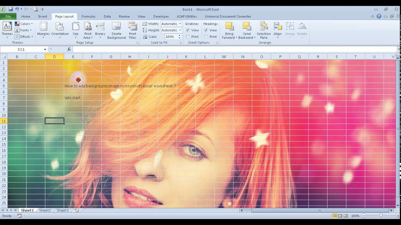 how to add background in excel 2013