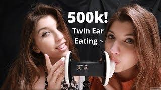ASMR 500K TWIN EAR EATING CELEBRATION ~