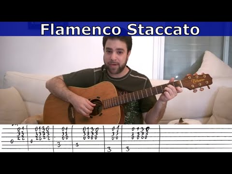 Fingerstyle Challenge #4 - Flamenco Staccato Riff -- Guitar Lesson W/ TAB