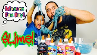 3 Color Slime Challenge!! Mason vs Daddy!!!