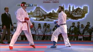 Enes ERKAN vs Slobodan BITEVIC. FINAL. Male Kumite +84kg. European Karate Championships 2015