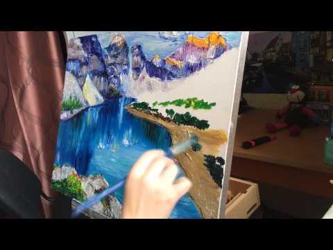 Video drawing/ Как нарисовать горный пейзаж маслом