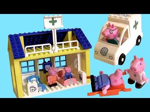 Peppa Pig Hospital Building Blocks with Ambulance - Nickelodeon Juego de Construcciones Bloks