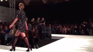 Models trip and lose their shoes during Omelya Fall/Winter 2016-2017 fashion show