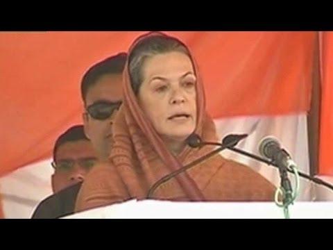 Sonia Gandhi addresses a rally in Moradabad, Uttar Pradesh