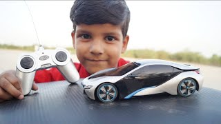 Kids Play With BMW i8 Rc Car Unboxing & Tasting With Remote Control