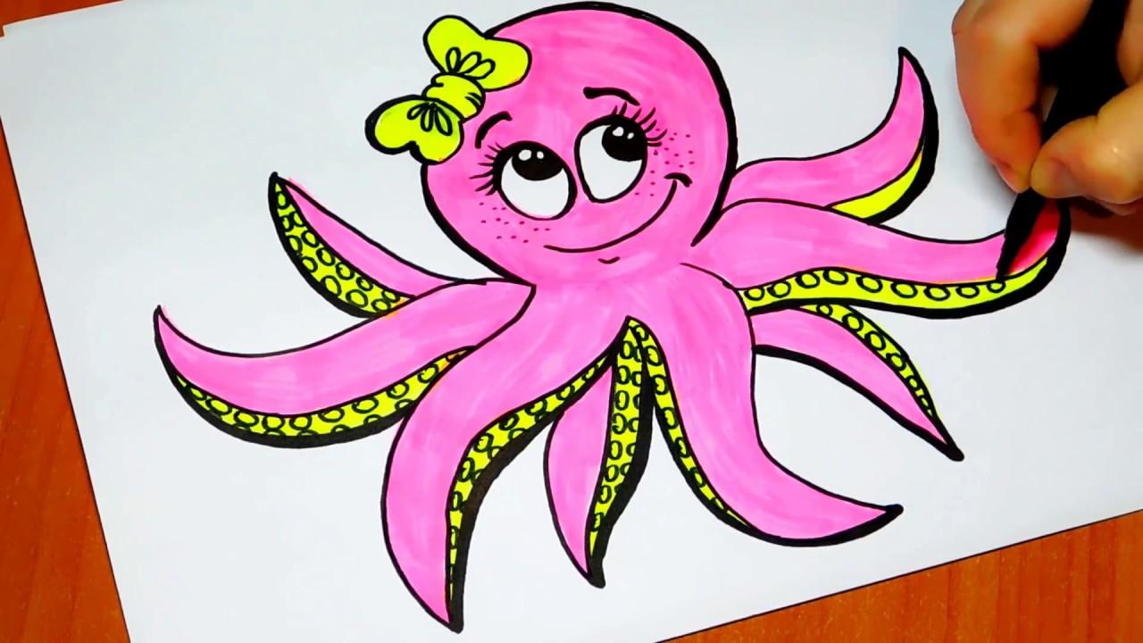Как рисовать осьминожка