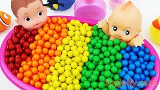 Learn Colors For Children Baby Doll Bubble Gumballs Bath Time Kid Song Nursery Rhymes