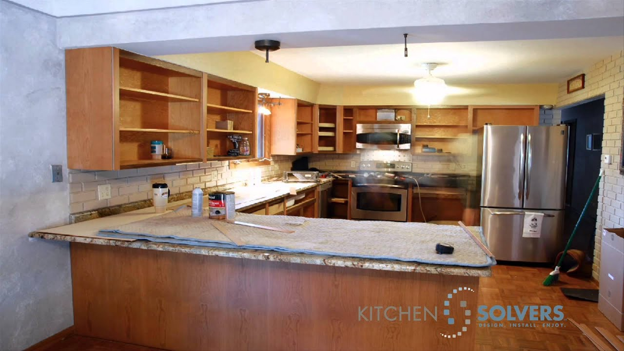 Kitchen cabinet refacing time lapse of kitchen cabinet for Kitchen cabinet refacing