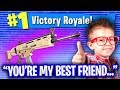 NICEST 10 YEAR OLD EVER ON FORTNITE GIVES ME HIS SCAR! (EMOTIONAL)