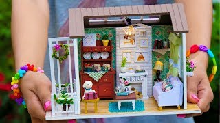 DIY Miniature Doll House Wooden Lodge Kit with Working Lights