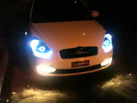 07 Hyundai Accent Custom Headlights Youtube
