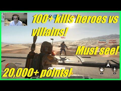 Star Wars Battlefront - 100+ kills Heroes vs villains match!   Insane 20,000+ points! (MUST SEE!) #1