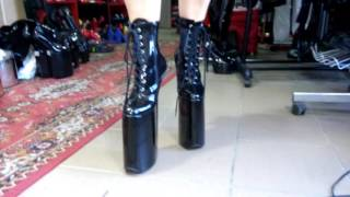 High heels 30cm boots patent leather platform 20cm
